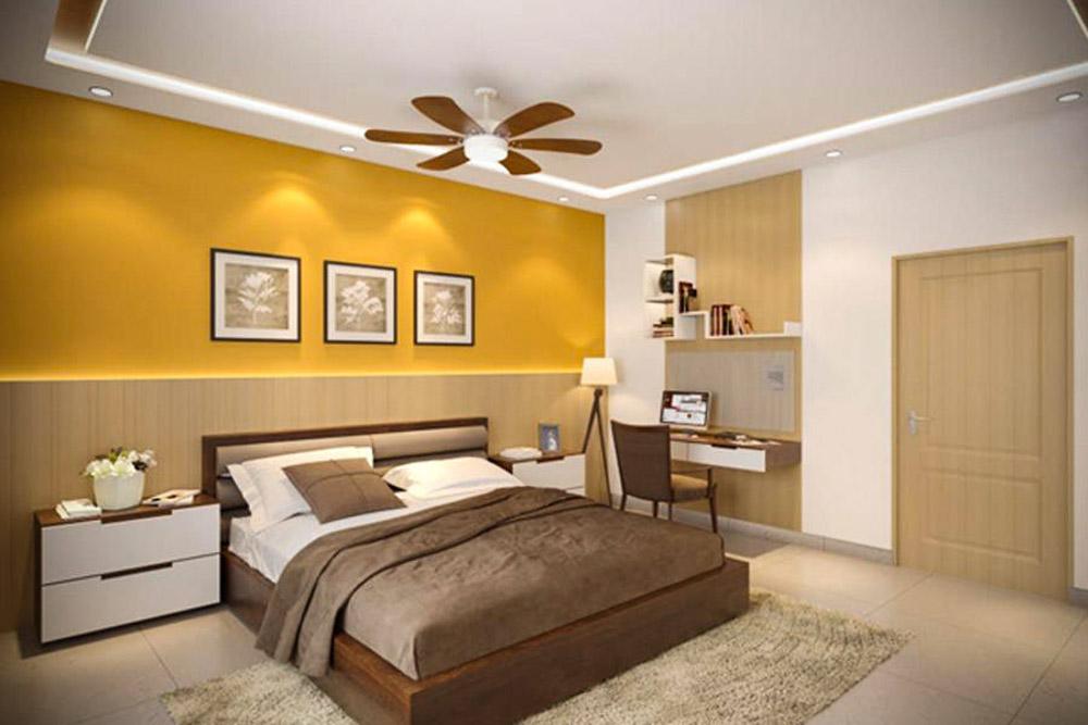 Tông màu phòng ngủ màu vàng giúp căn phòng thêm phần ấm áp
