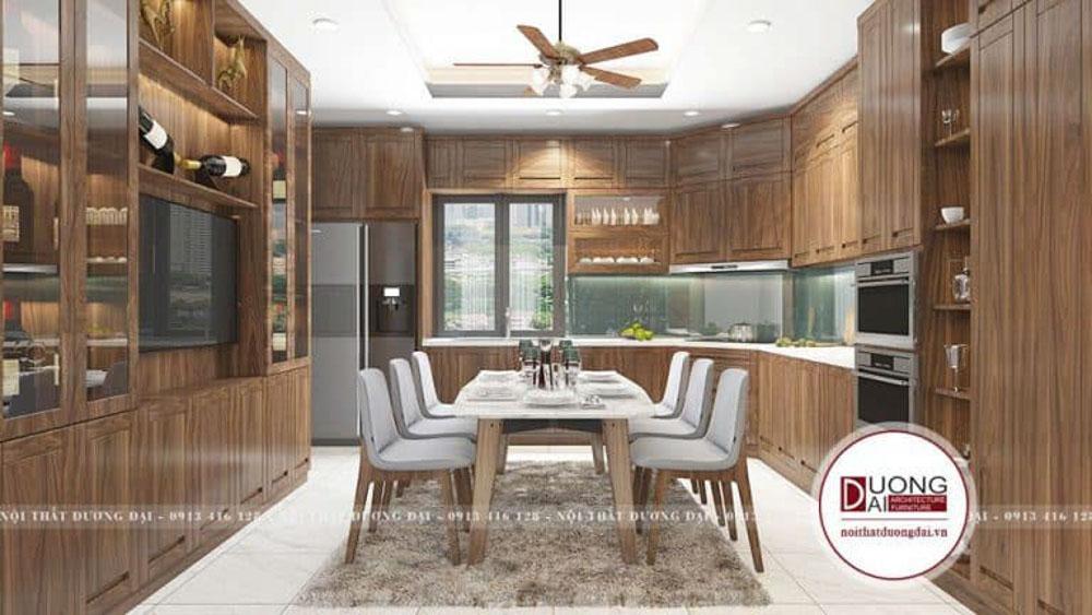 Tủ bếp gỗ óc chó chữ U cao cấp và có gam màu hiện đại