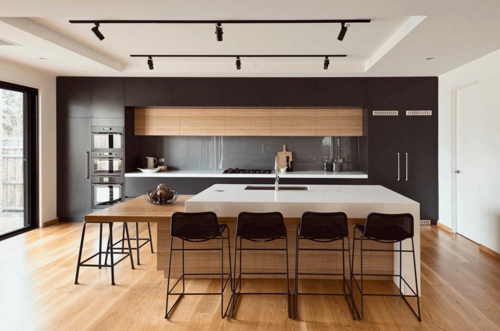 Gam màu sáng của gỗ trong thiết kế căn bếp tạo được sự ấm cúng