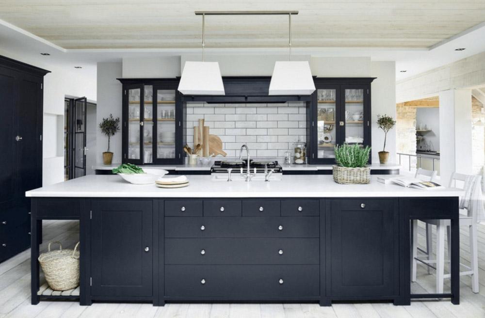 Tủ bếp màu đen màu trắng đen