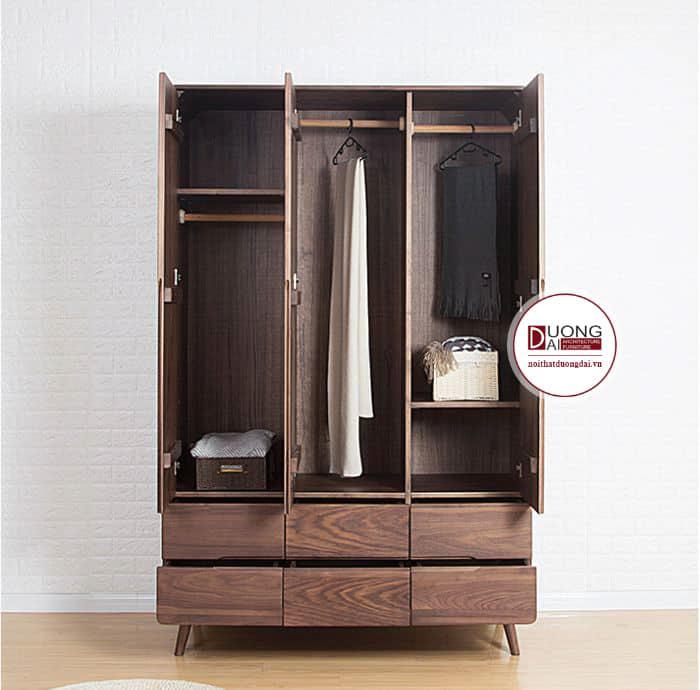 Tủ quần áo gỗ óc chó 3 cánh mang đến chất lượng tuyệt vời