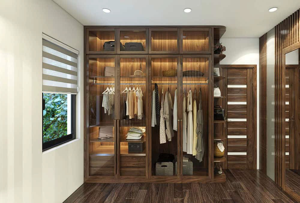 Tủ quần áo gỗ óc chó 4 cánh cao cấp và sang trọng