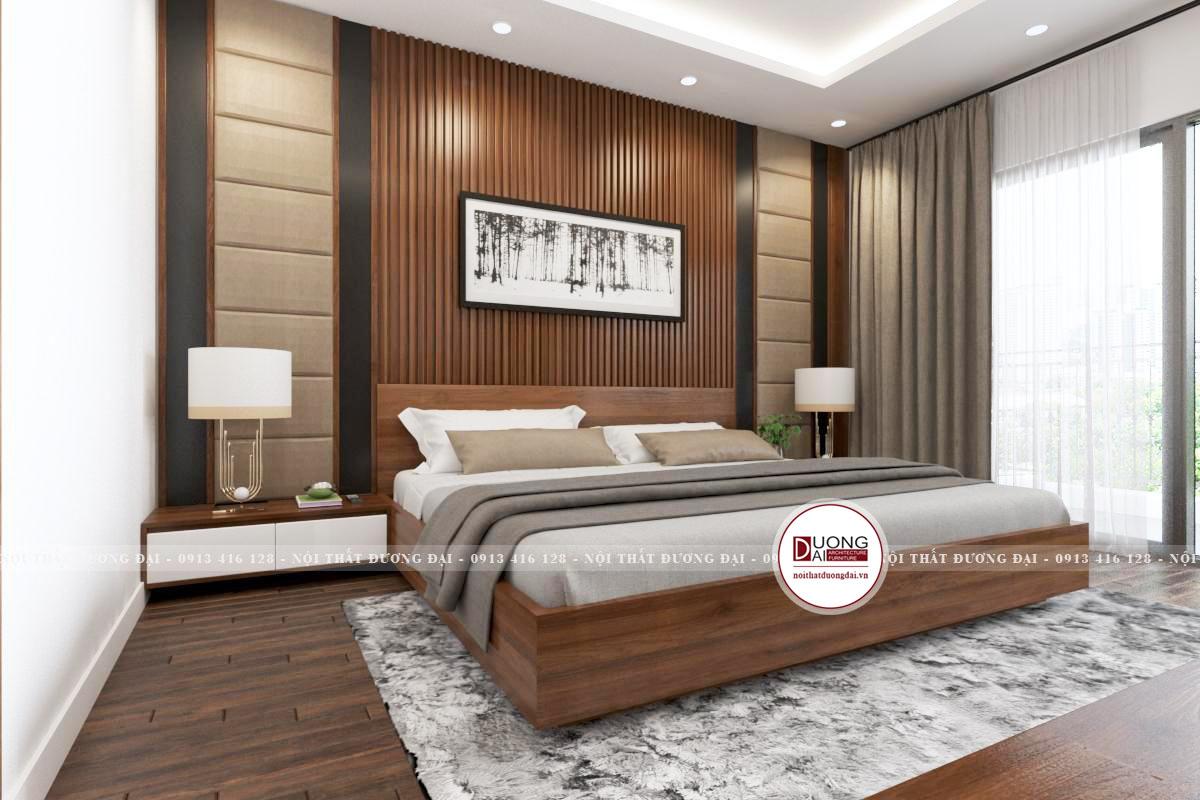 Căn phòng ngủ master sang trọng và đẳng cấp với chất liệu gỗ
