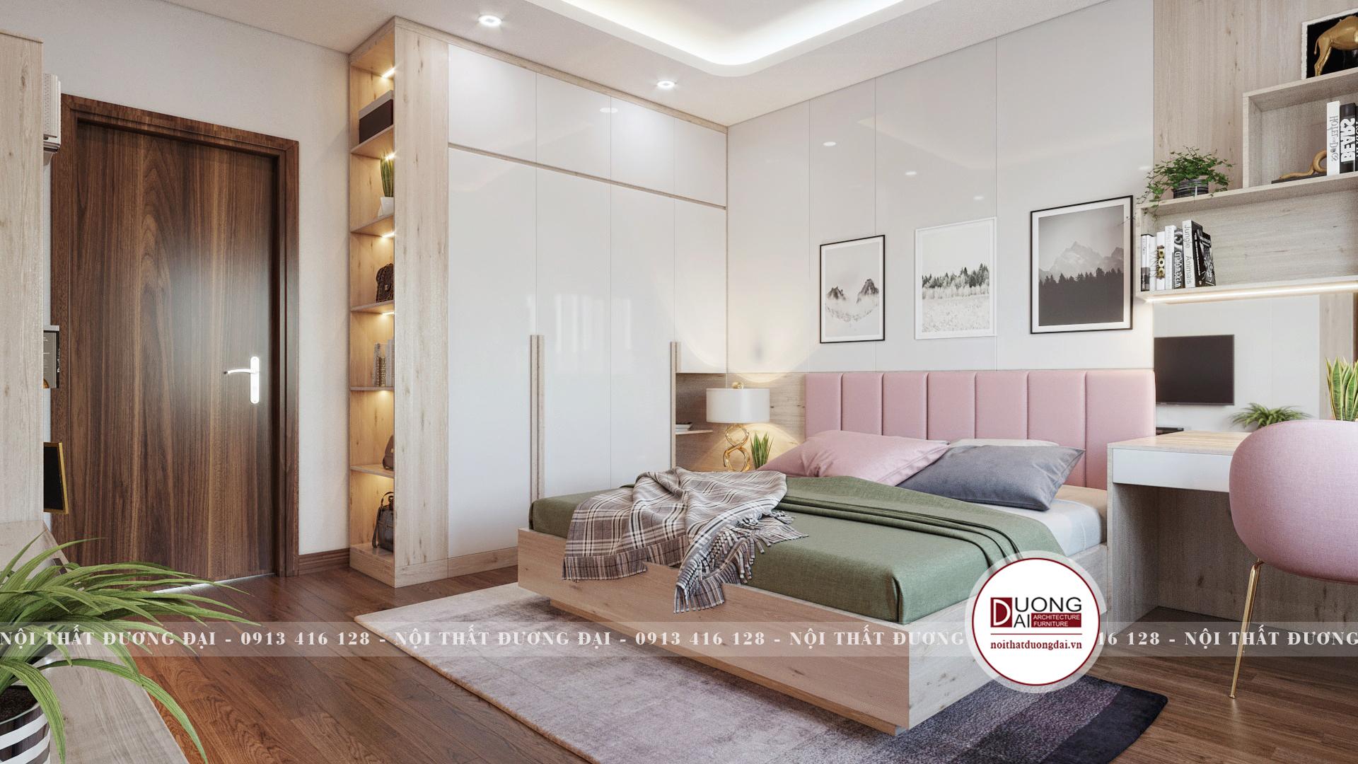 Phòng ngủ bé gái với không gian tràn ngập màu sắ