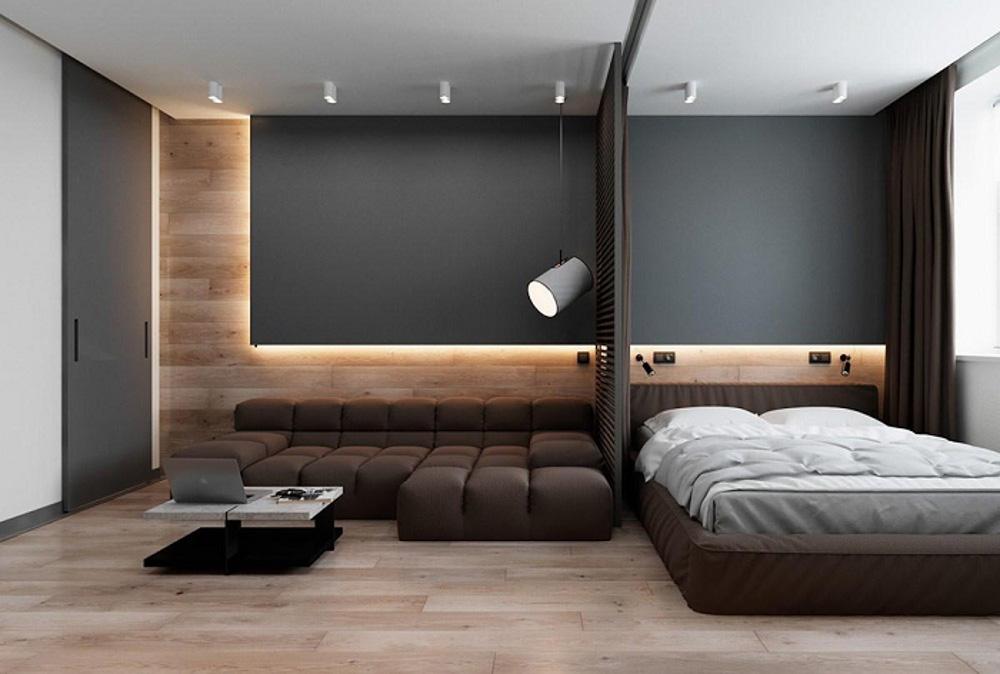Cải tạo phòng khách thành phòng ngủ với tông màu sang trọng