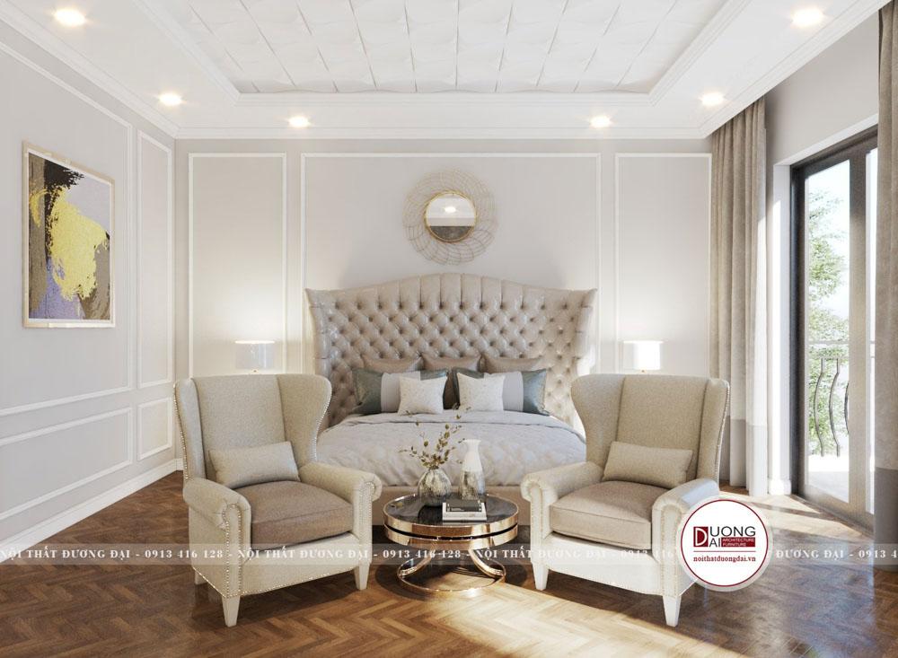 Căn phòng ngủ với gam màu trắng hiện đại