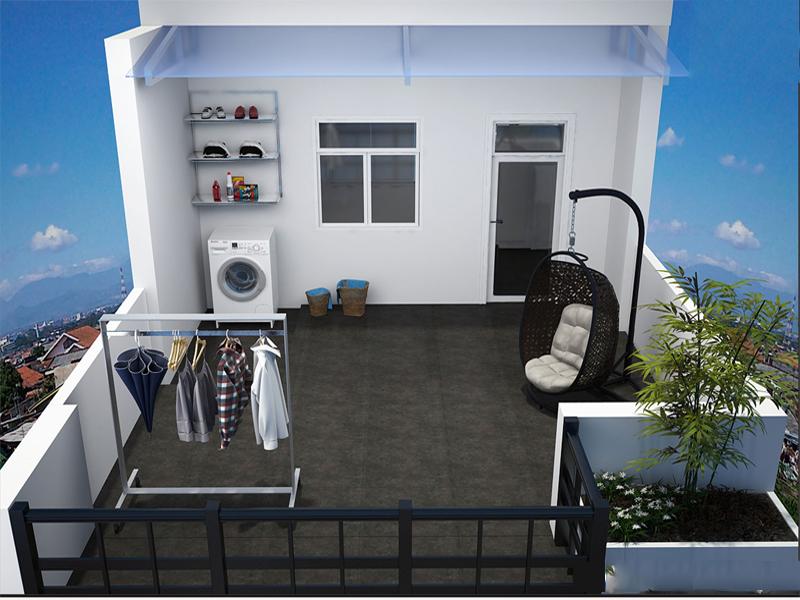 Biến sân thượng thành căn phòng nhỏ và là nơi phơi đồ