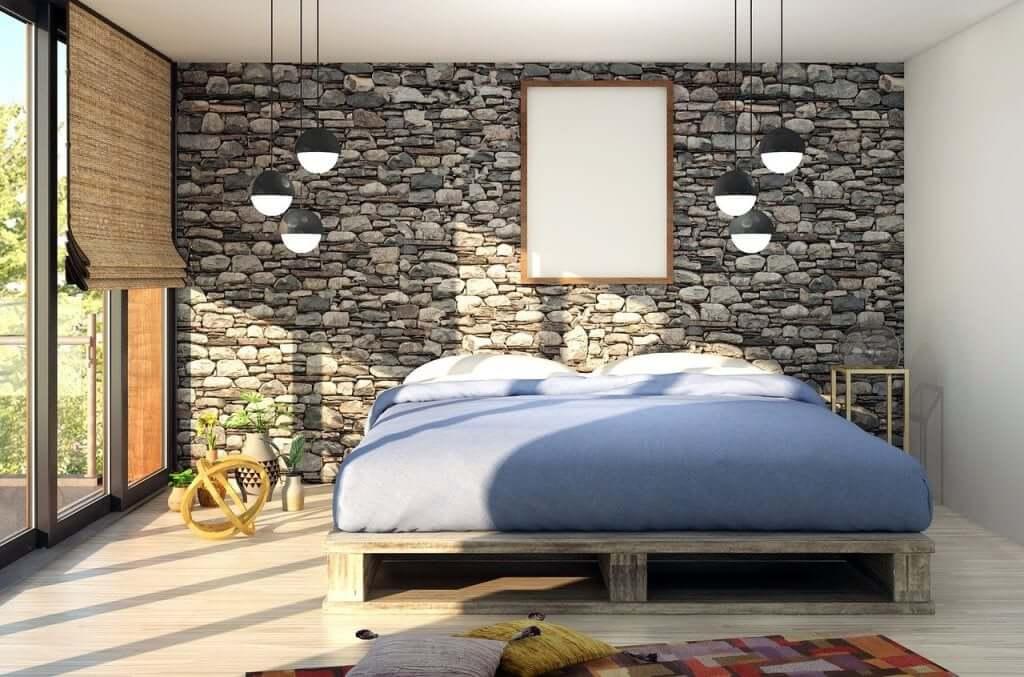 Căn phòng ngủ tràn ngập ánh sáng trên sân thượng