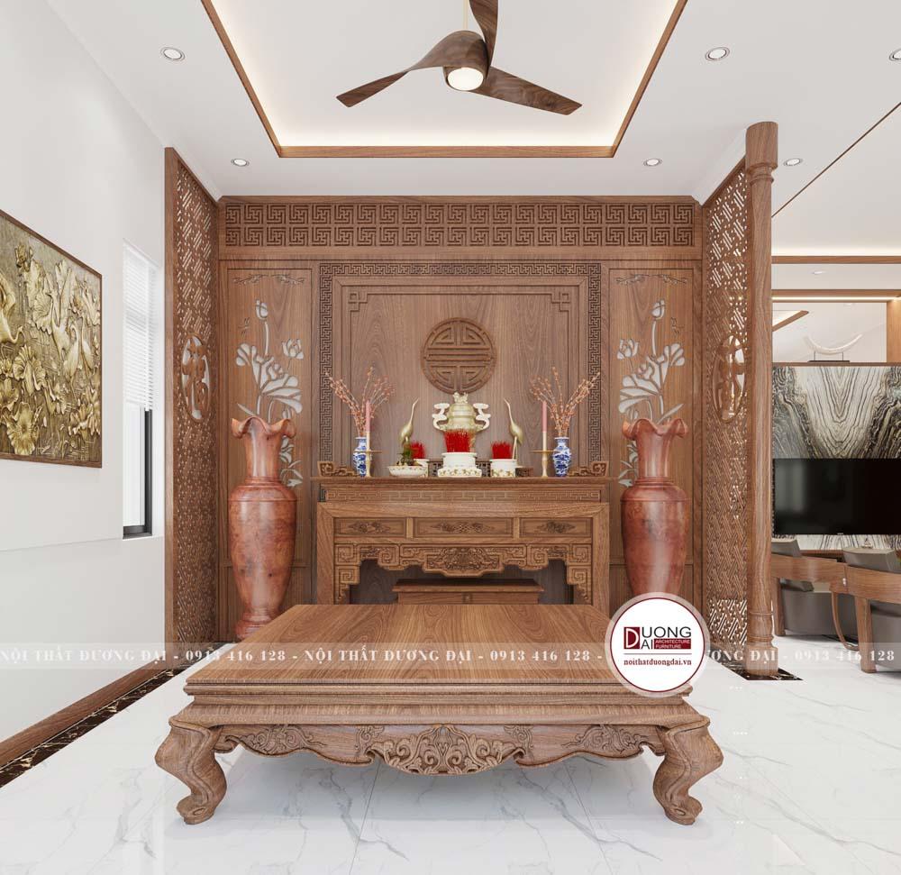 Không gian thờ cúng cũng là không gian được sử dụng ngay tại tầng 1 và nằm cạnh phòng khách và phòng bếp