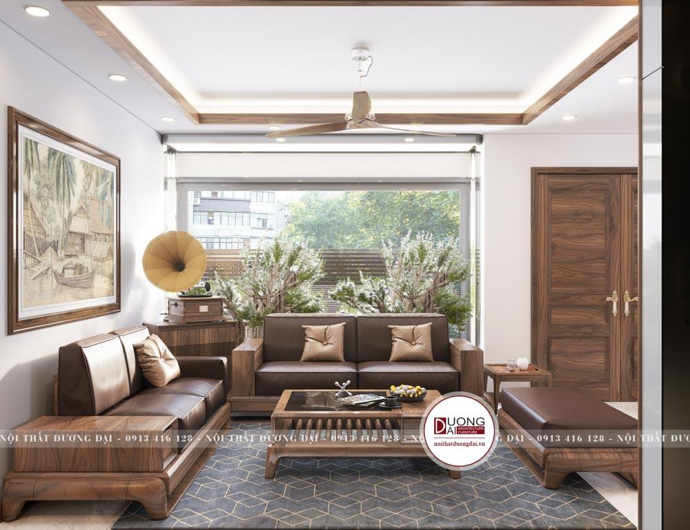 Không gian phòng khách sang trọng với nội thất gỗ óc chó làm chủ đạo