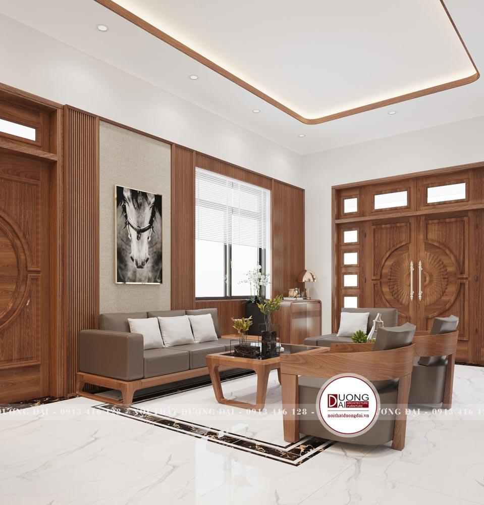 Ngay khi bước chân vào căn phòng đập vào mắt bạn sẽ là bộ bàn ghế sofa bằng chất liệu gỗ óc chó với đệm nỉ.