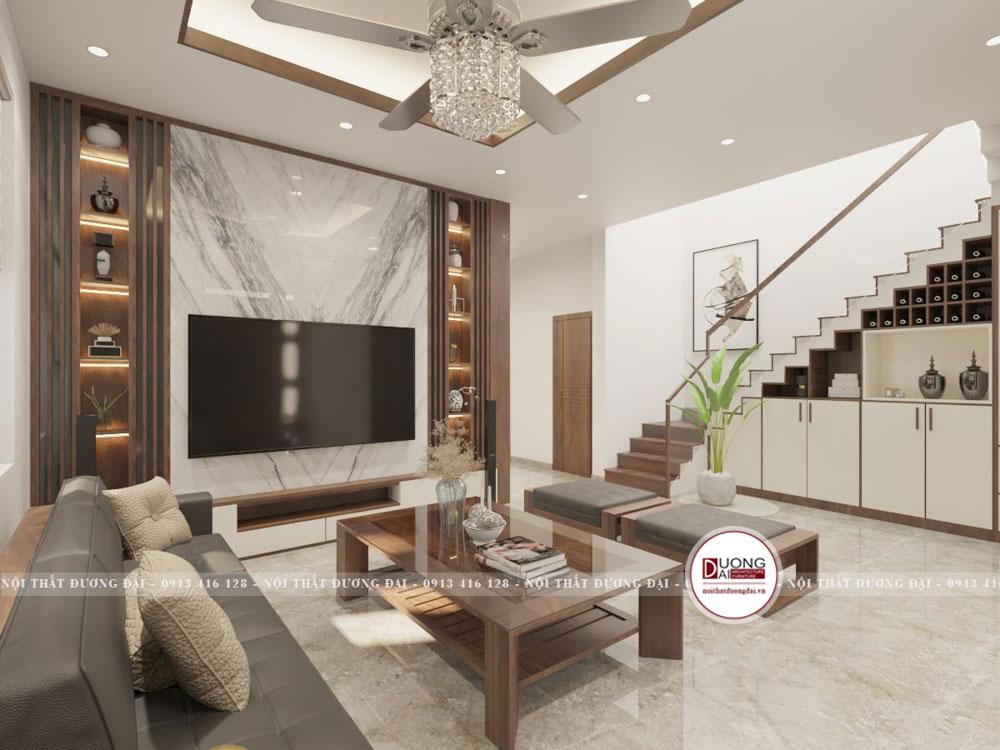 Thiết kế nội thất nhà phố gỗ công nghiệp