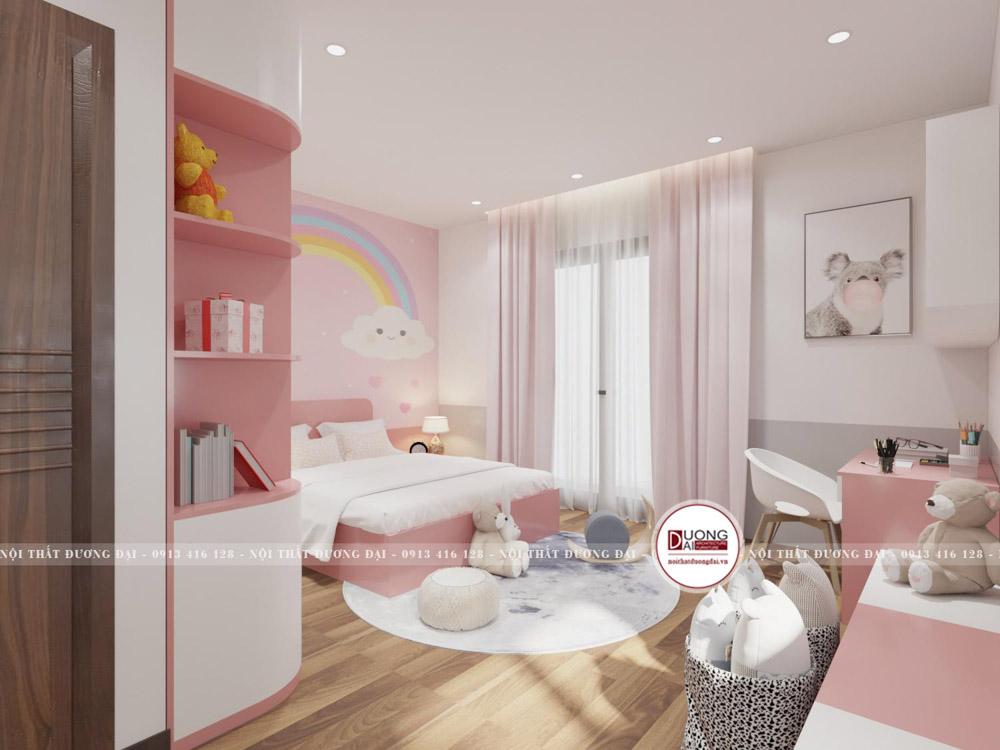 Căn phòng ngủ của bé gái nhà anh Tân tràn ngập màu sắc tươi sáng
