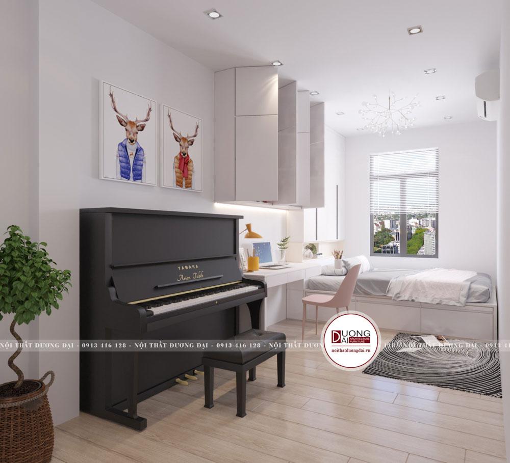 Căn phòng này sử dụng tông màu chủ yếu là tông màu trắng với nhiều các họa tiết bắt mắt hơn.