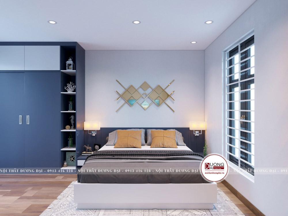 Căn phòng ngủ dành cho bé trai là căn phòng tràn ngập sắc xanh