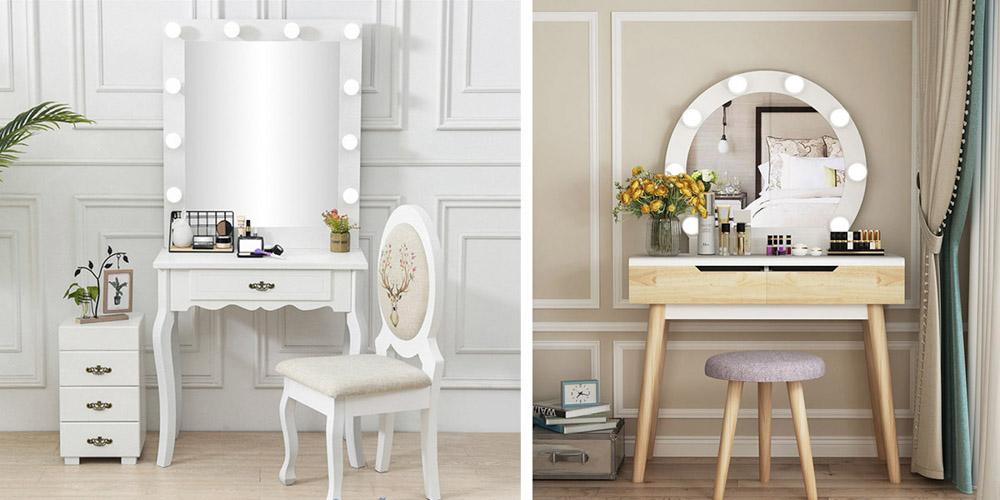Với những căn phòng ngủ có chủ nhân là nữ thường sẽ sử dụng gương trang điểm gắn tường