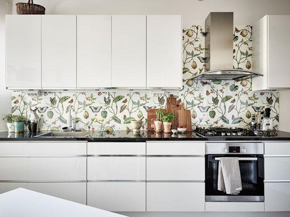 trang trí nhà bếp bằng giấy dán tường