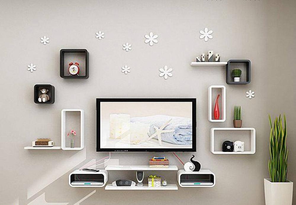 Ô vuông được trang trí trực tiếp trên tường tạo nên một thiết kế trẻ trung và độc đáo