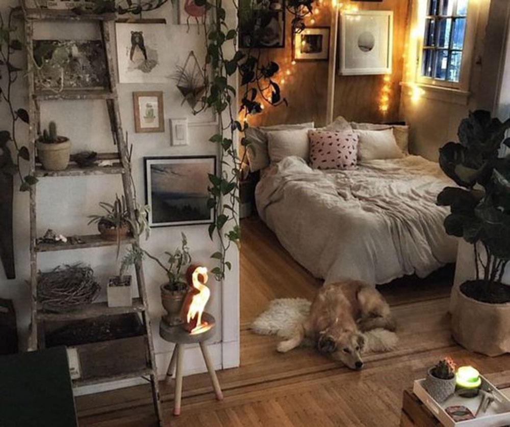 Trang trí phòng ngủ vintage với cành cây khô