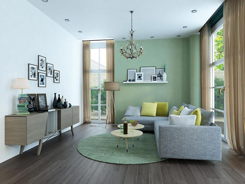 Màu xanh trầm và tươi mới cho căn nhà thêm sáng sủa