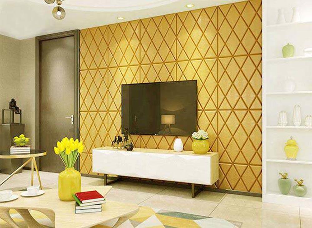 Việc trang trí phòng khách bằng xốp dán tường chính là một trong những xu thế được nhiều gia đình lựa chọn