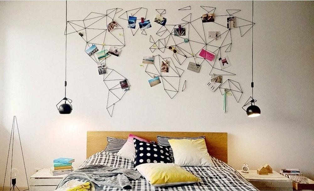 Trang trí phòng ngủ bằng ảnh theo dạng bản đồ về những nơi mà bạn sẽ đị qua