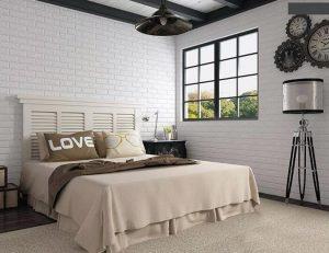 Cách trang trí phòng ngủ bằng xốp dán tường giả gạch đang được ứng dụng rất nhiều