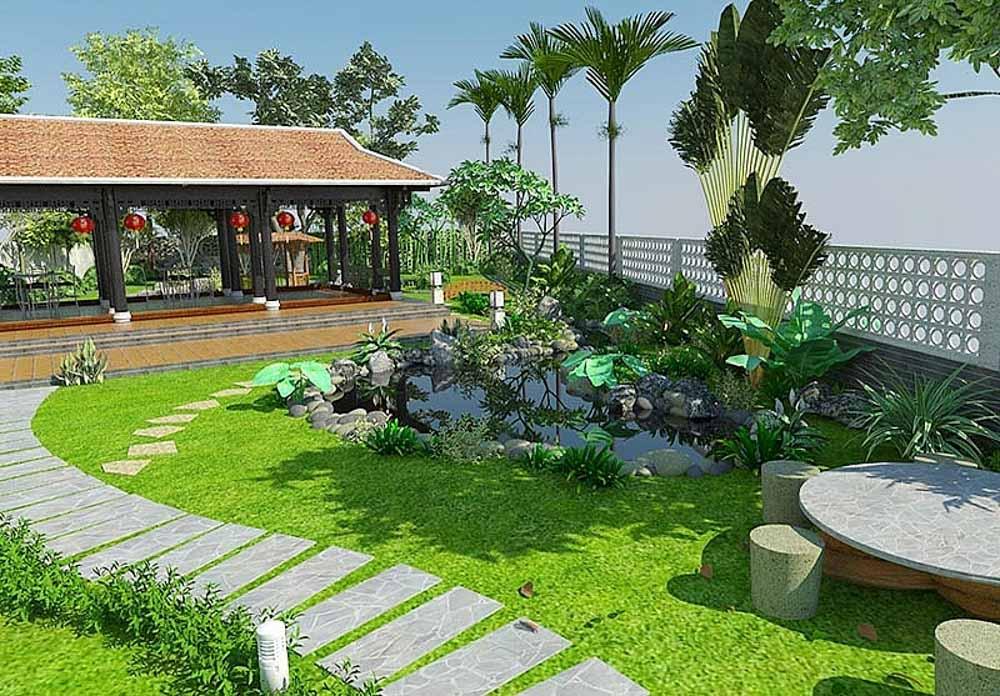 Nếu như nhà bạn có sân vườn rộng thì bạn có thể trang trí bằng những hồ nước nhỏ