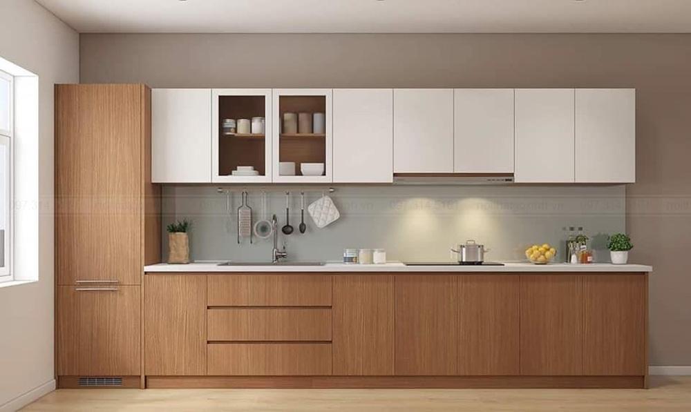 Sản phẩm tủ bếp Melamine là một loại tủ bếp gỗ công nghiệp và được sử dụng vật liệu ván gỗ Melamine cho cánh tủ