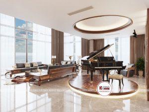 Điểm nhấn của căn phòng này chính là một chiếc piano được đặt tại một không gian trang trọng