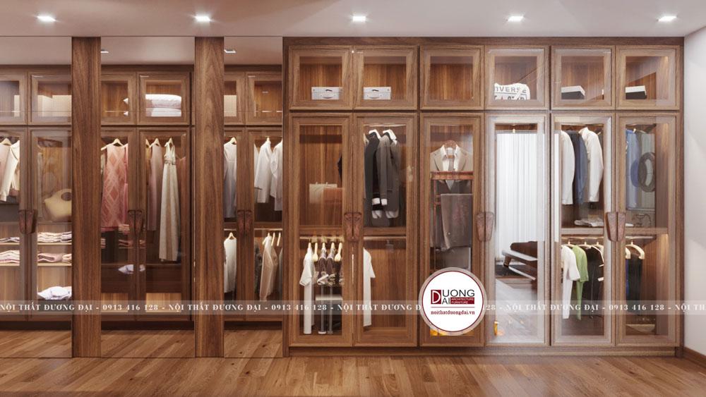 Phòng thay quần áo lớn với đầy đủ các ngăn