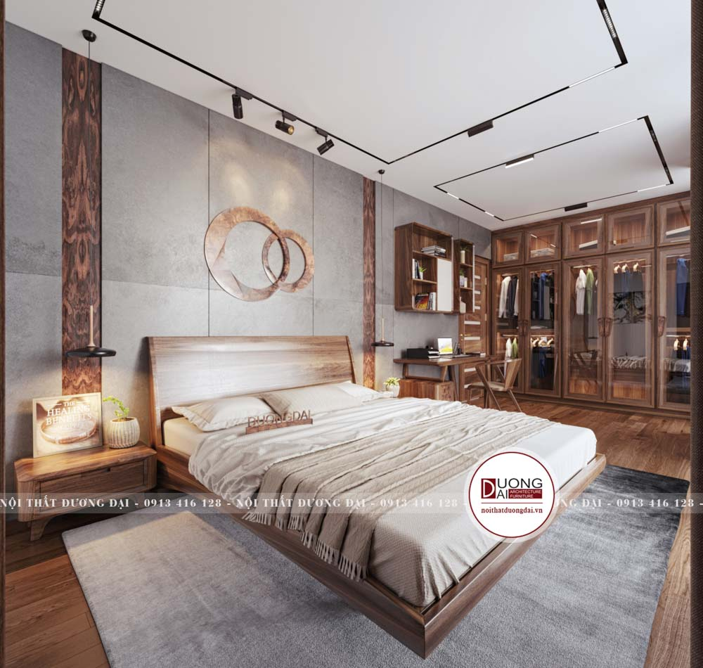Phòng ngủ thứ 1 của nhà anh Hải cũng cực kỳ hiện đại và xa hoa
