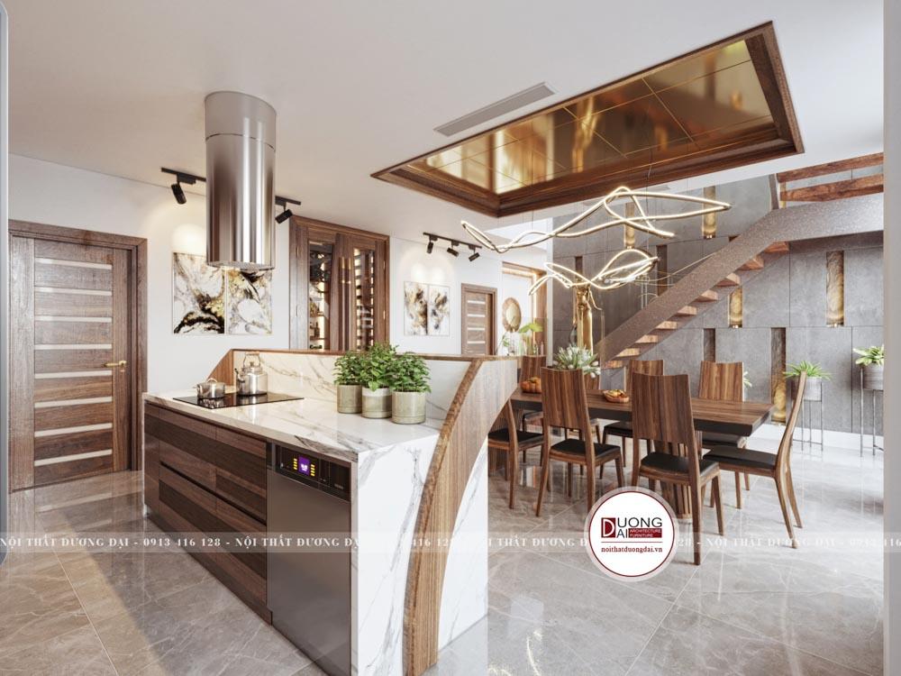 Căn bếp tuy được thiết kế đơn giản nhưng nó có đầy đủ chức năng cần thiết.