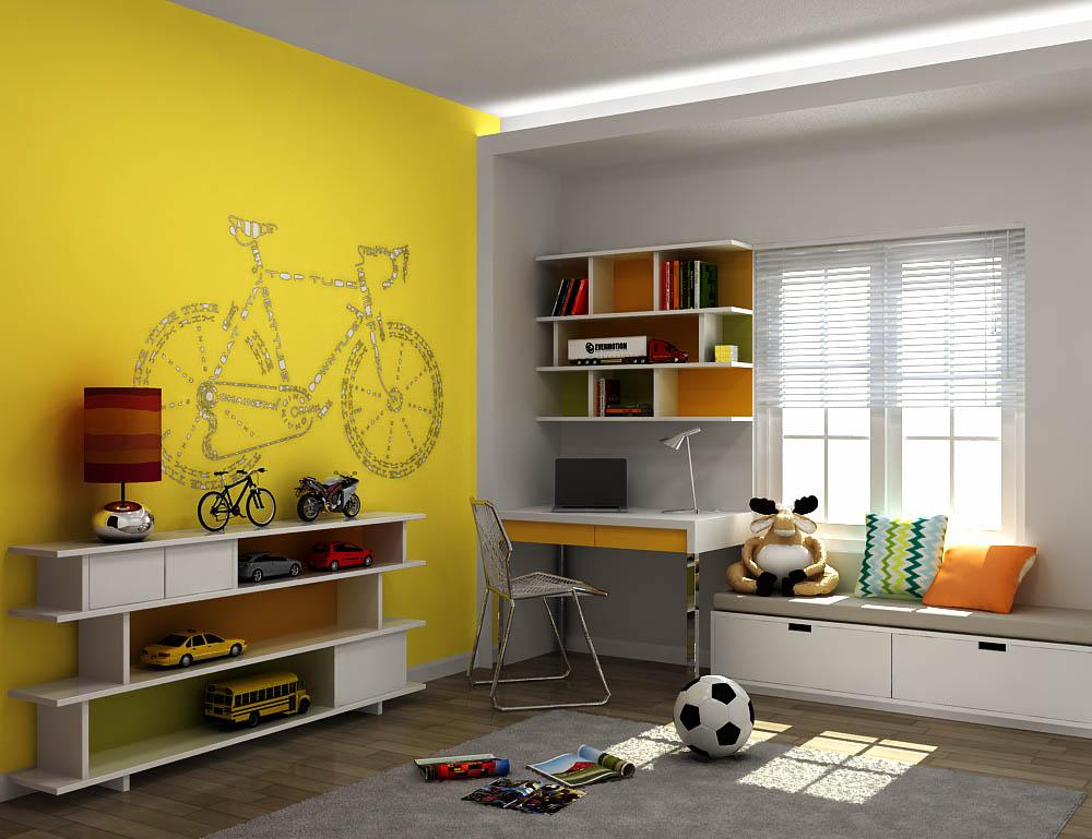Gam màu vàng là gam màu chủ đạo của căn phòng