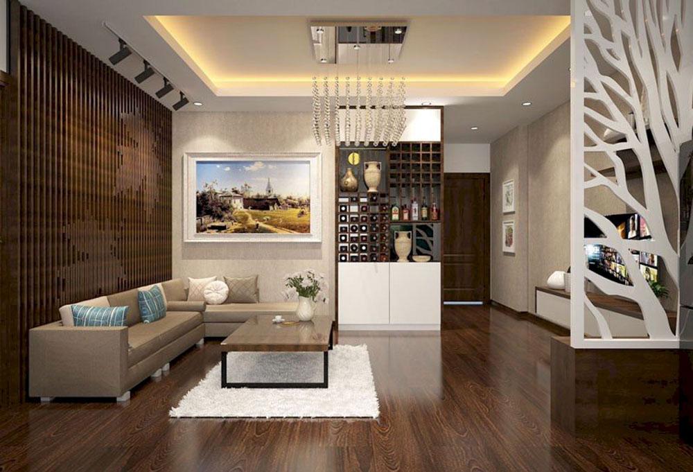 Trong không gian phòng khách thì sàn nhà chính là biểu tượng của đất