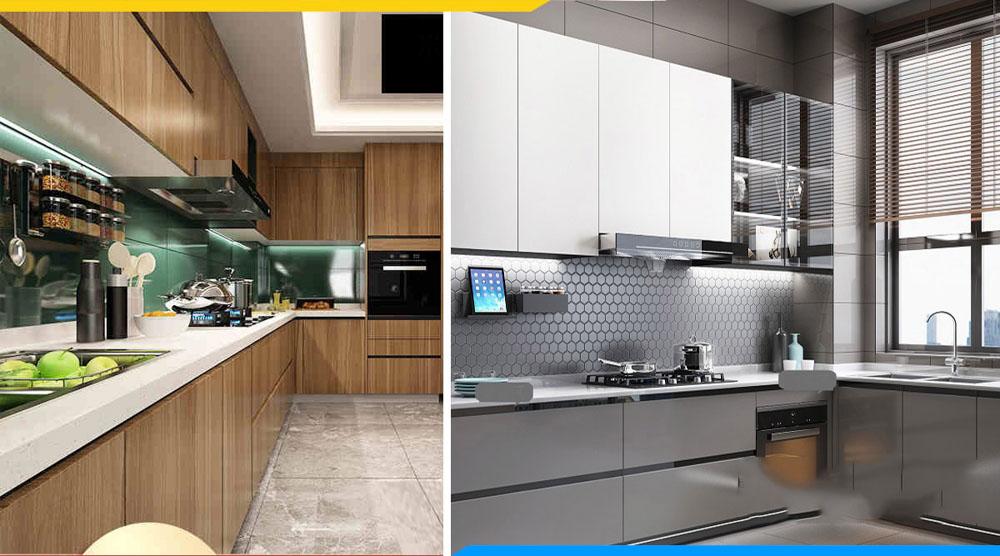 so sánh tủ bếp Acrylic và Melamine