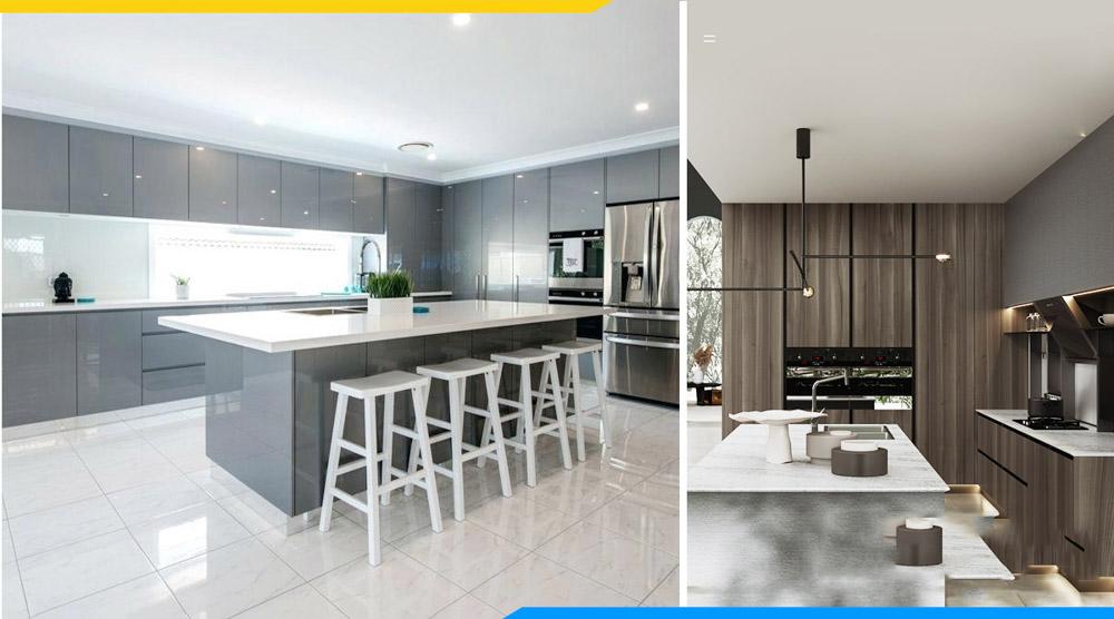 tên gọi tủ bếp Acrylic hay tủ bếp melamine đều là gọi theo tên bề mặt phủ