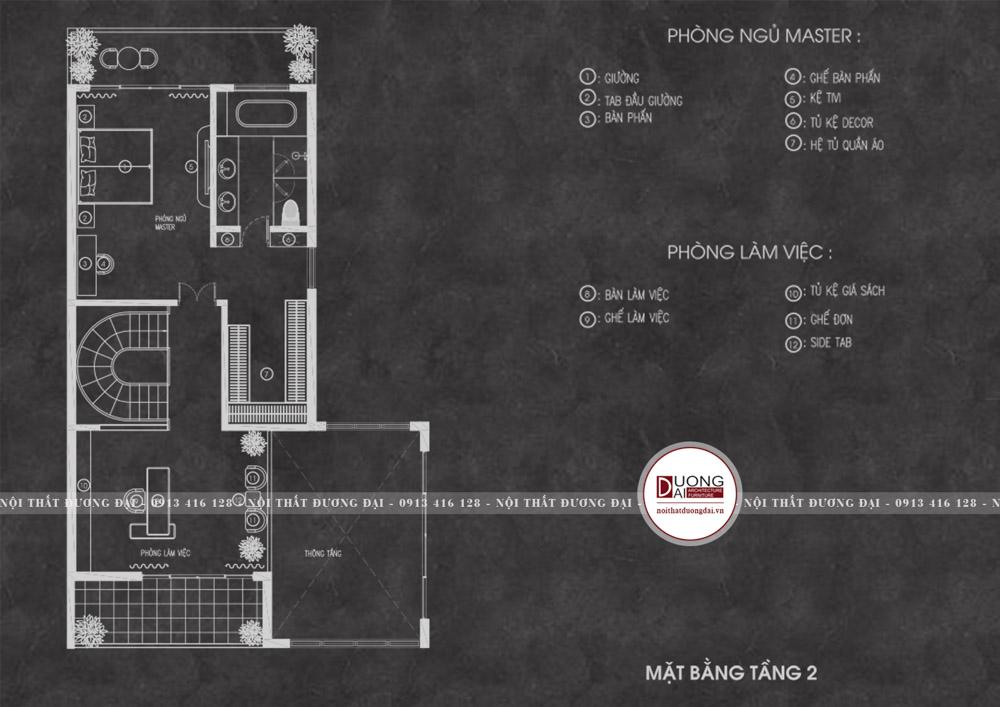 Tầng 2 sẽ bao gồm phòng ngủ và phòng làm việc.
