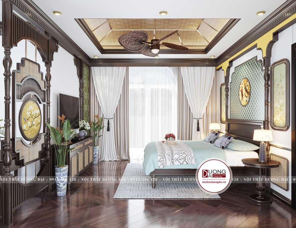 phòng ngủ master có thiết kế với sự phối hợp hài hòa của các gam màu