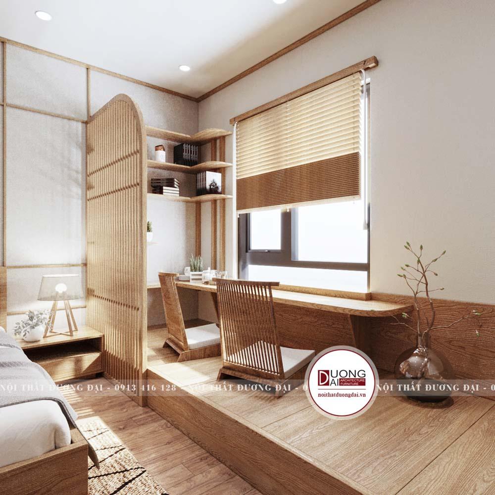Không gian thư giãn và làm việc trong phòng với kiểu ghế Nhật Bản