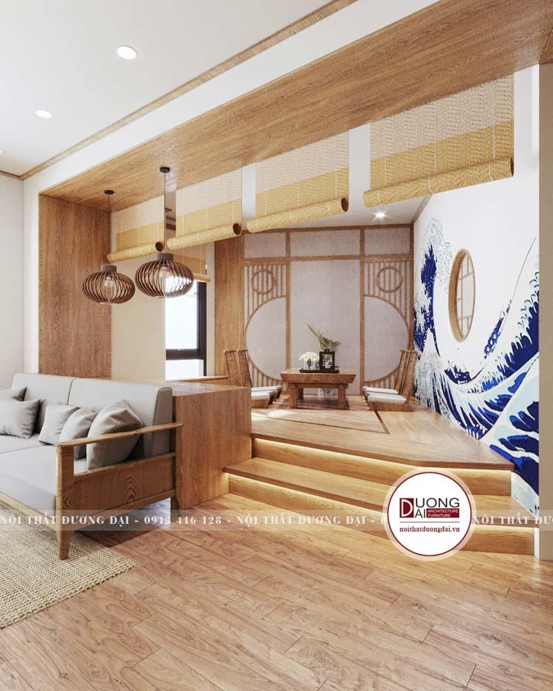 Không gian uống trà riêng biệt nằm trong khu vực phòng khách
