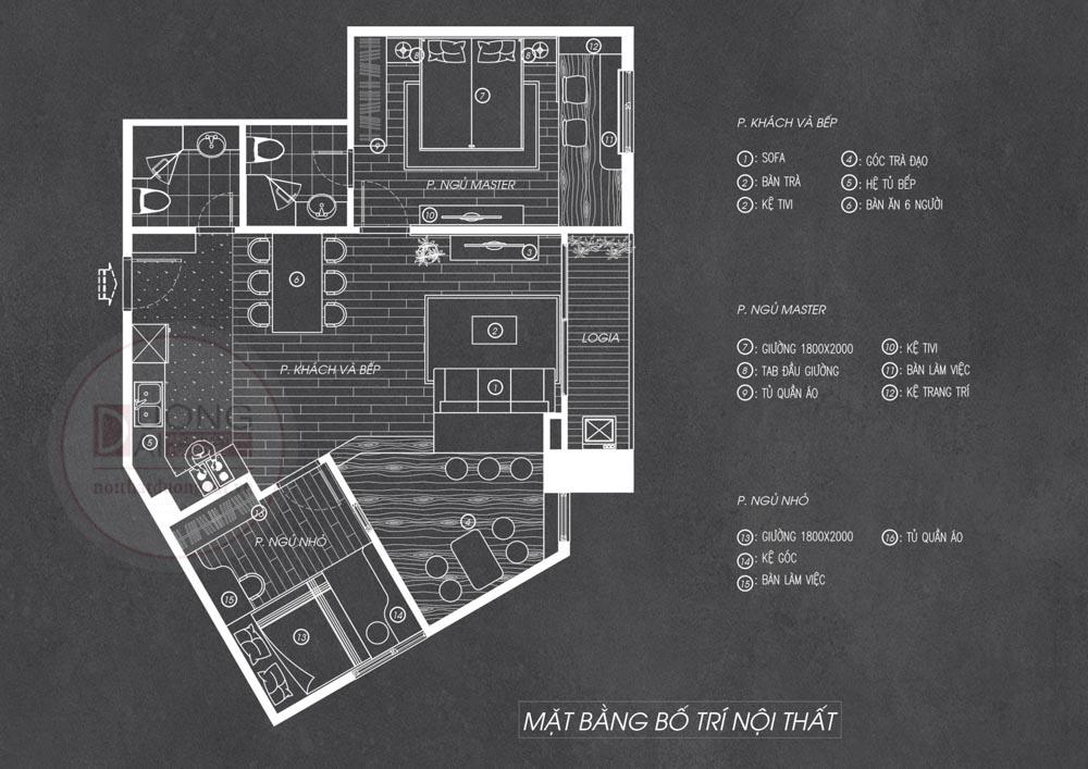 Mặt bằng thiết kế nội thất chung cư gỗ công nghiệp