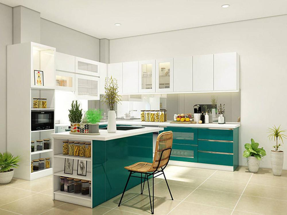 Đây là sản phẩm tủ bếp sẽ có thùng được làm bằng chất liệu MDF lõi xanh chống ẩm