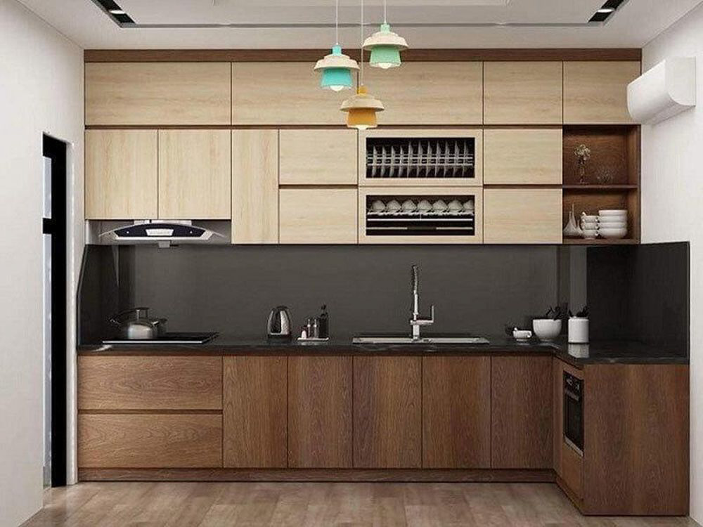 Tủ bếp MDF phủ Laminate gần tương tự như tủ bếp Melamine từ màu sắc cho tới ngoại hình