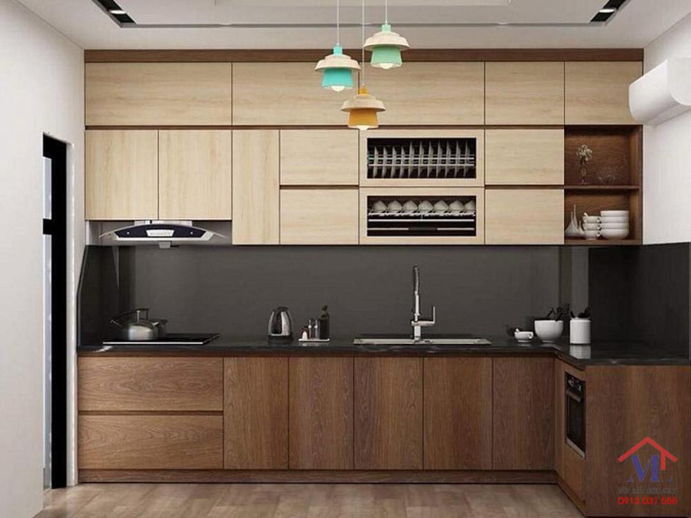 Tủ bếp malemine đẹp giả vân gỗ cực sang trọng