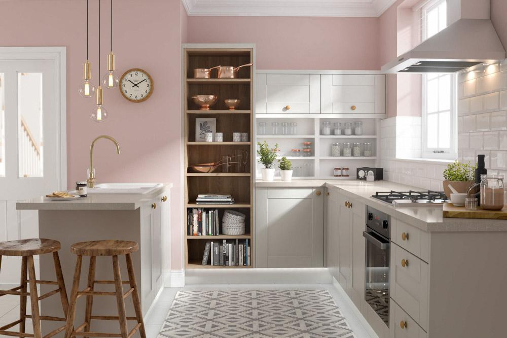 tủ bếp màu pastel