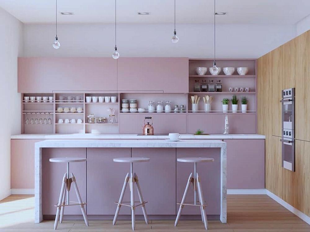 Sự kết hợp giữa những tông màu pastel này sẽ mang đến không gian căn bếp ấm áp và mới mẻ