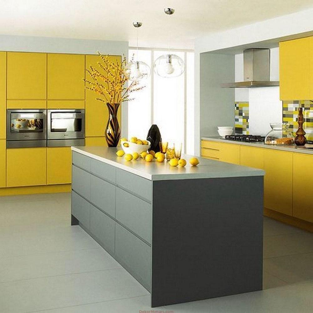 Tủ bếp màu vàng