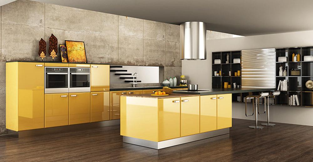 Tủ bếp màu vàng cực kỳ cá tính và hiện đại cho căn bếp bừng sáng