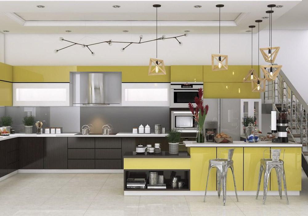 Nếu bạn thích căn bếp nhà mình có sự sáng bóng và sang trọng thì có thể chọn kiểu tủ bếp màu vàng bóng.